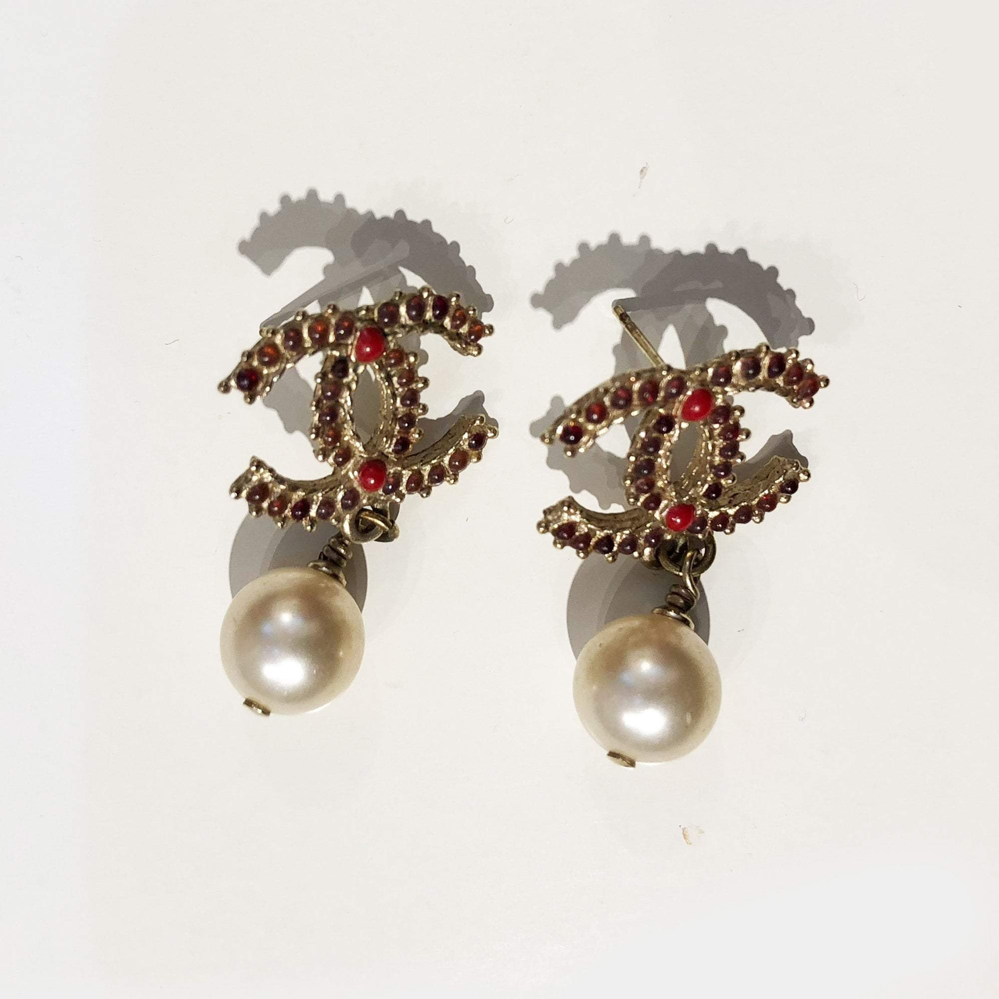 Chanel CC Pearl Drop Gold-Tone Red Crystal Earrings (no earring back)