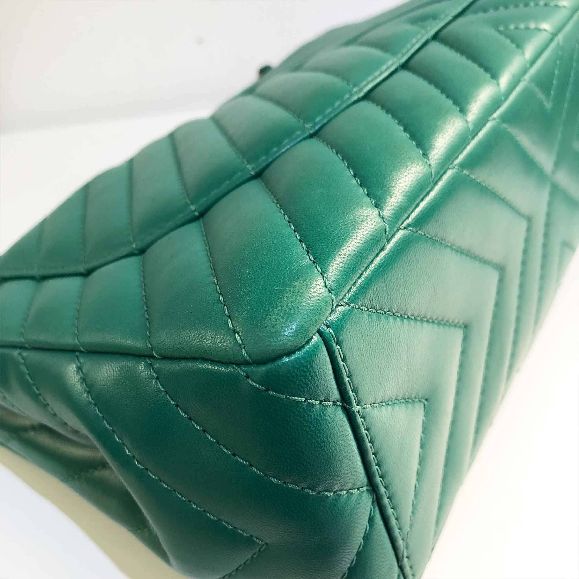 Chanel Green Lambskin Leather Chevron Maxi Bag