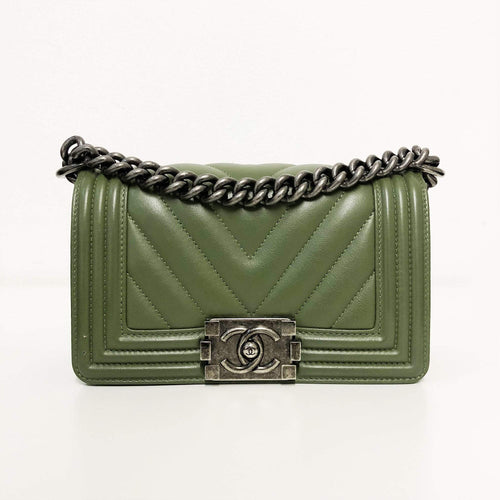Chanel Boy Chevron Small Khaki Leather Cross Body Bag