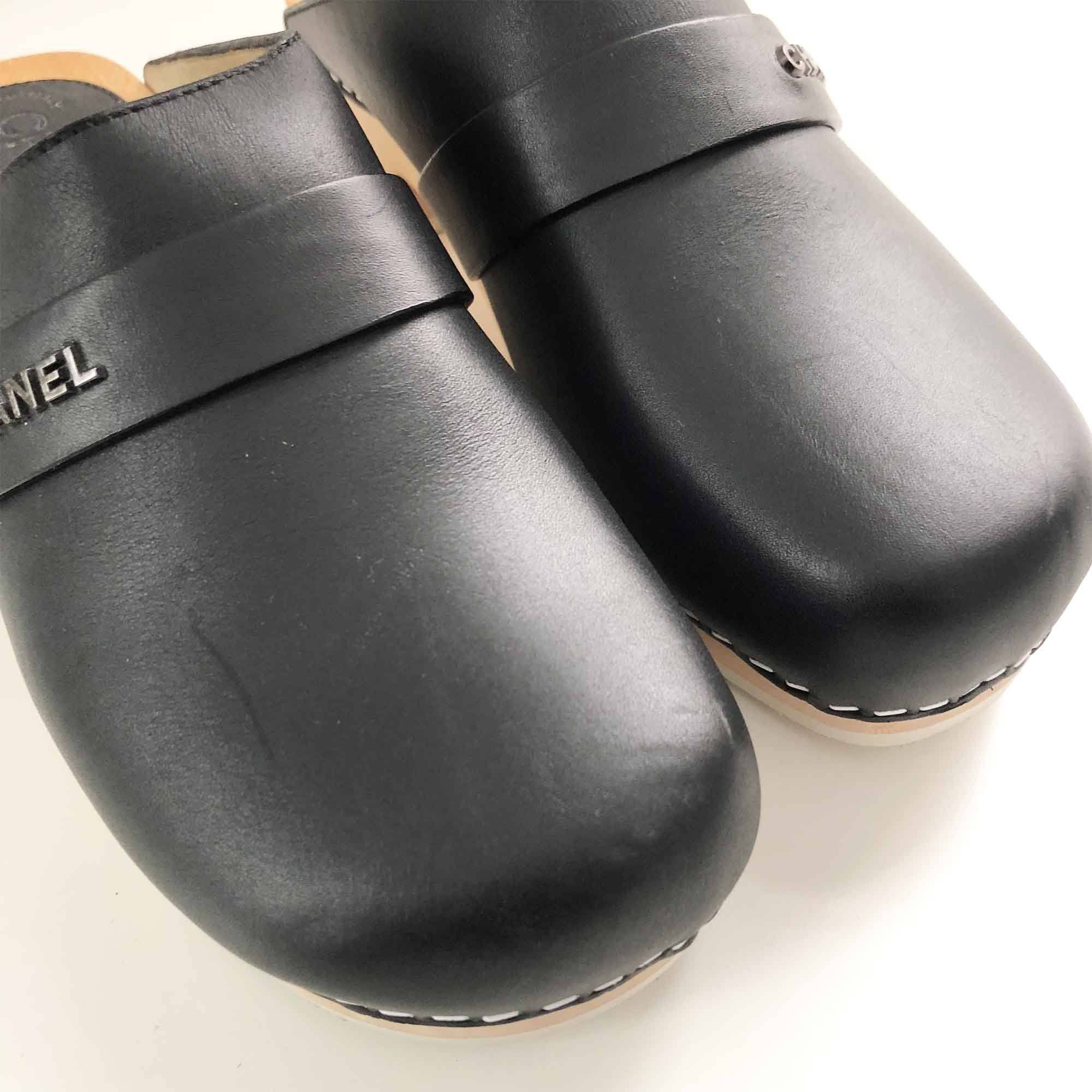 Chanel Black Leather Wooden Clogs