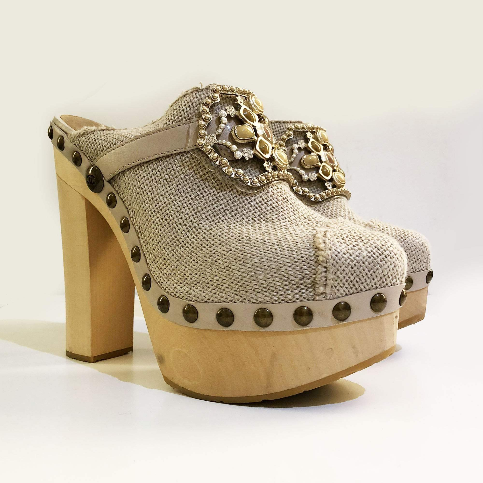 Chanel Embellished Buckle Canvas Clogs