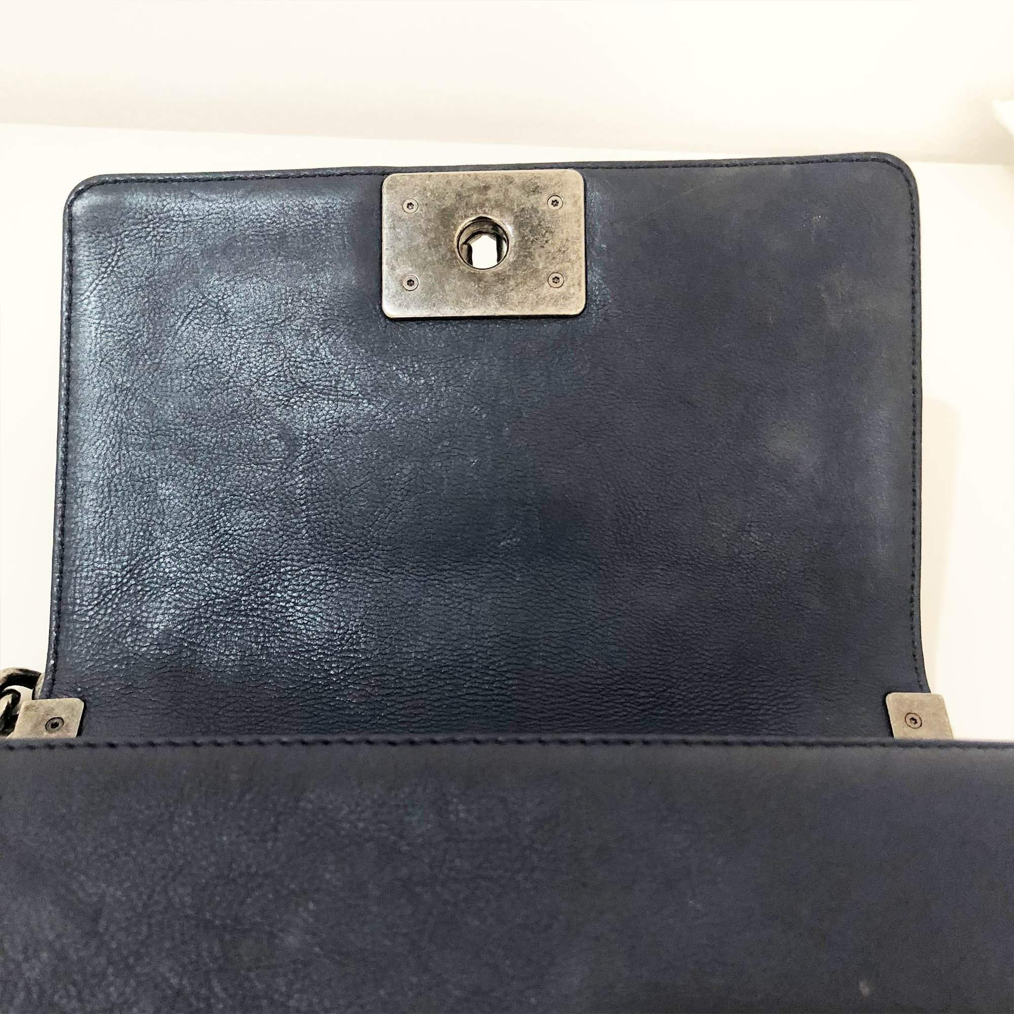 Chanel Le Boy Small Blue Leather Bag