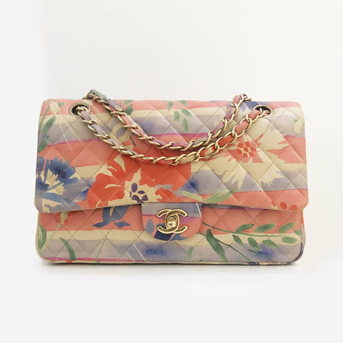 Chanel Floral Print Limited Edition Medium Double Flap Bag