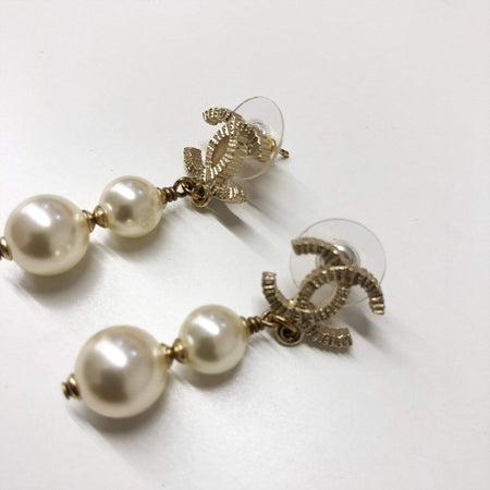 Chanel CC Pearl Drop Gold-tone Earrings