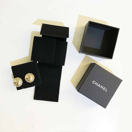 Chanel Light Gold-tone Round CC Earrings