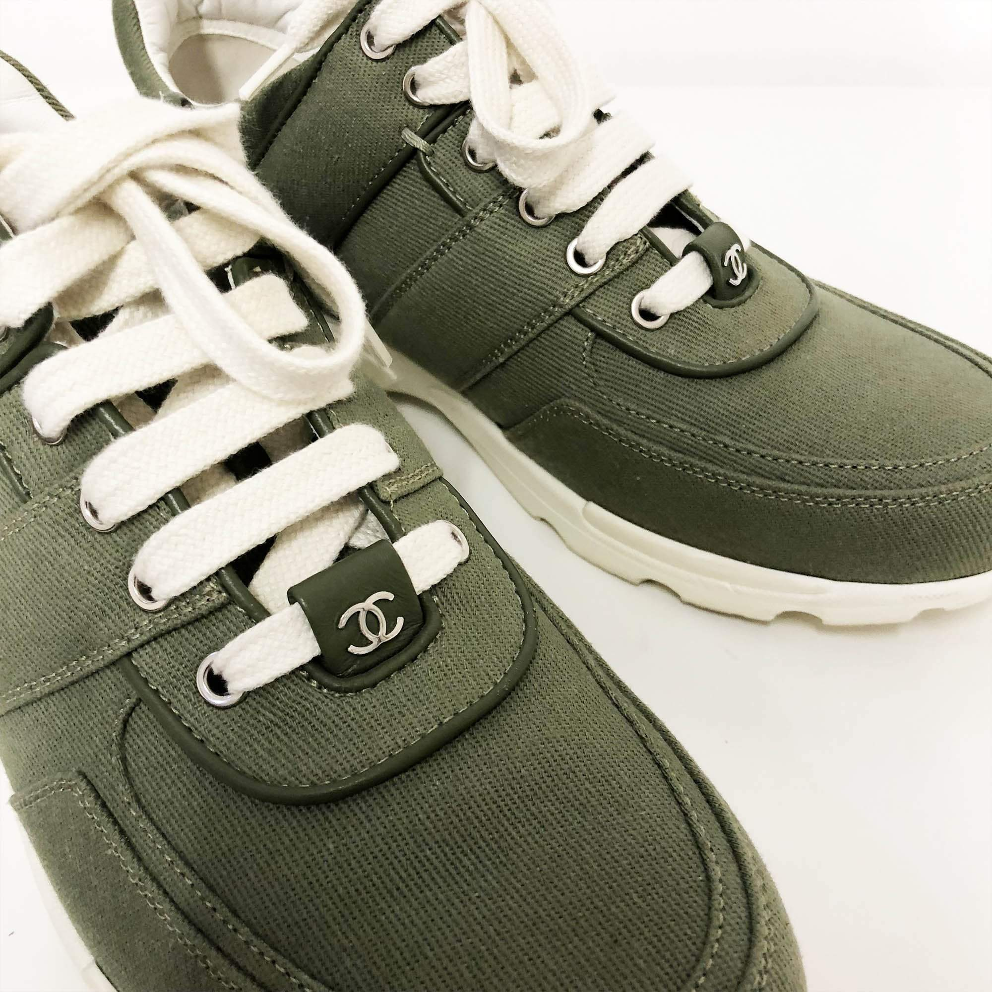 Chanel Green High Top Sneakers