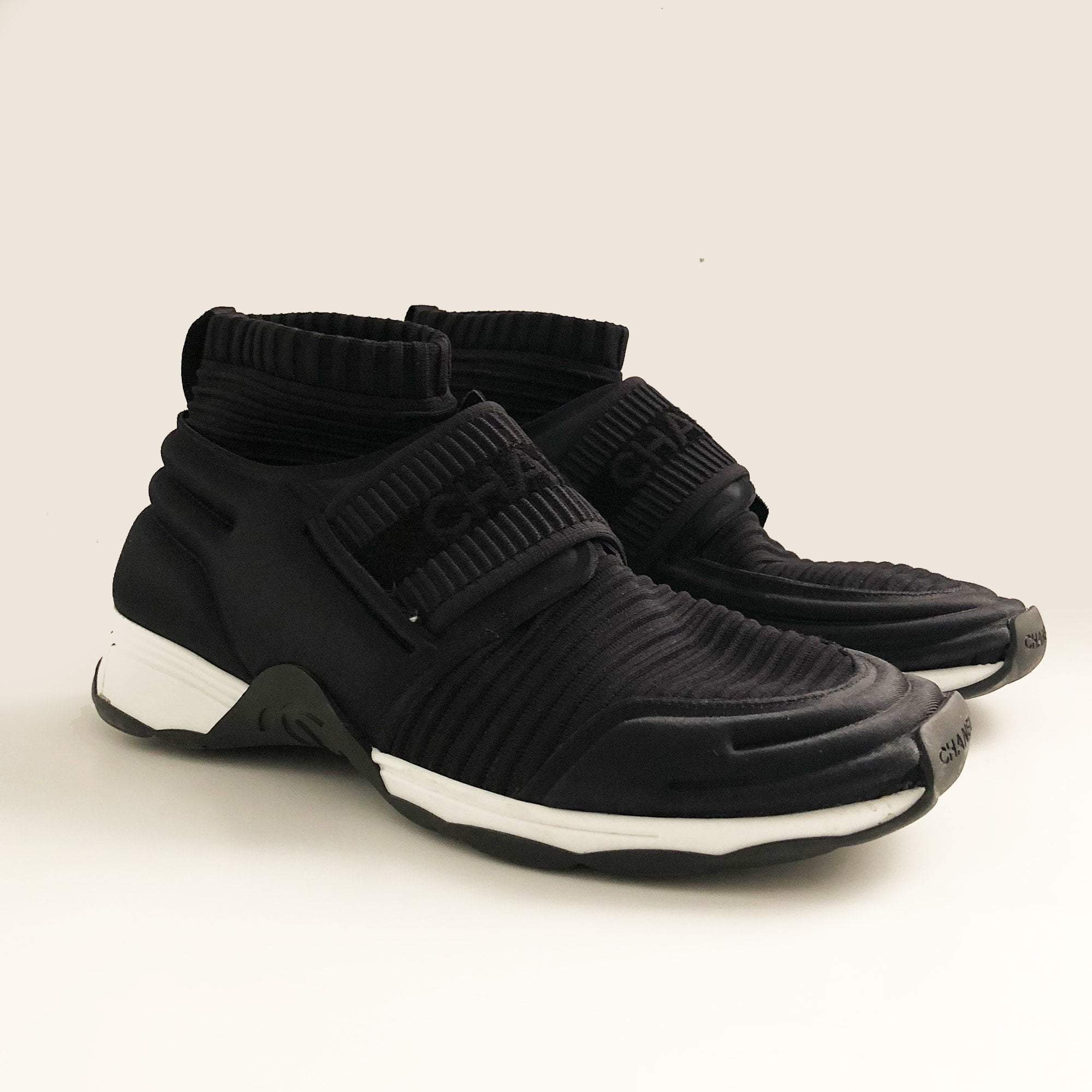 Chanel Black Speed High Top Stretch Knit Sneakers