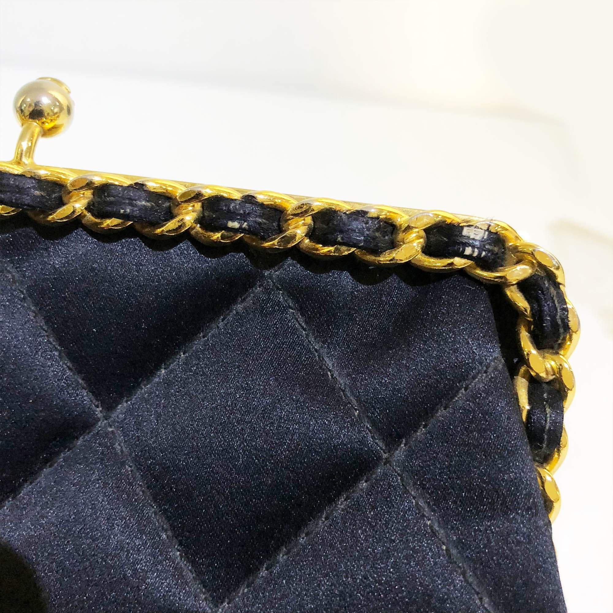 Chanel Vintage Satin Kiss Lock Purse