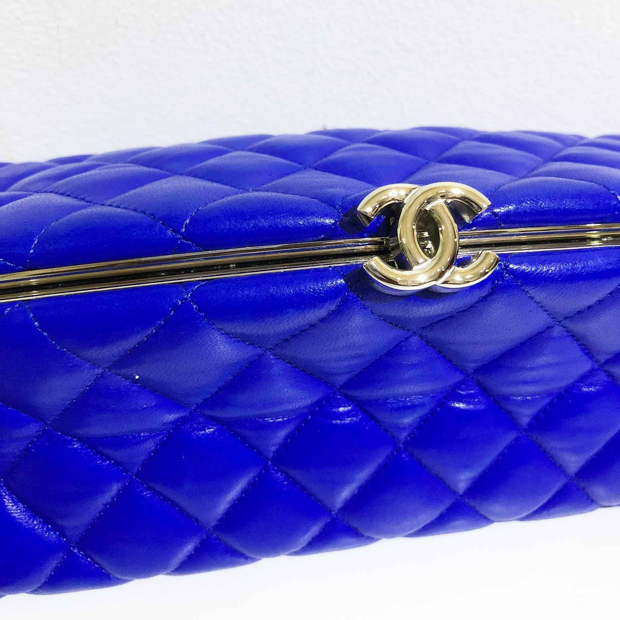 Chanel Blue Lambskin Leather Timeless Clutch Bag