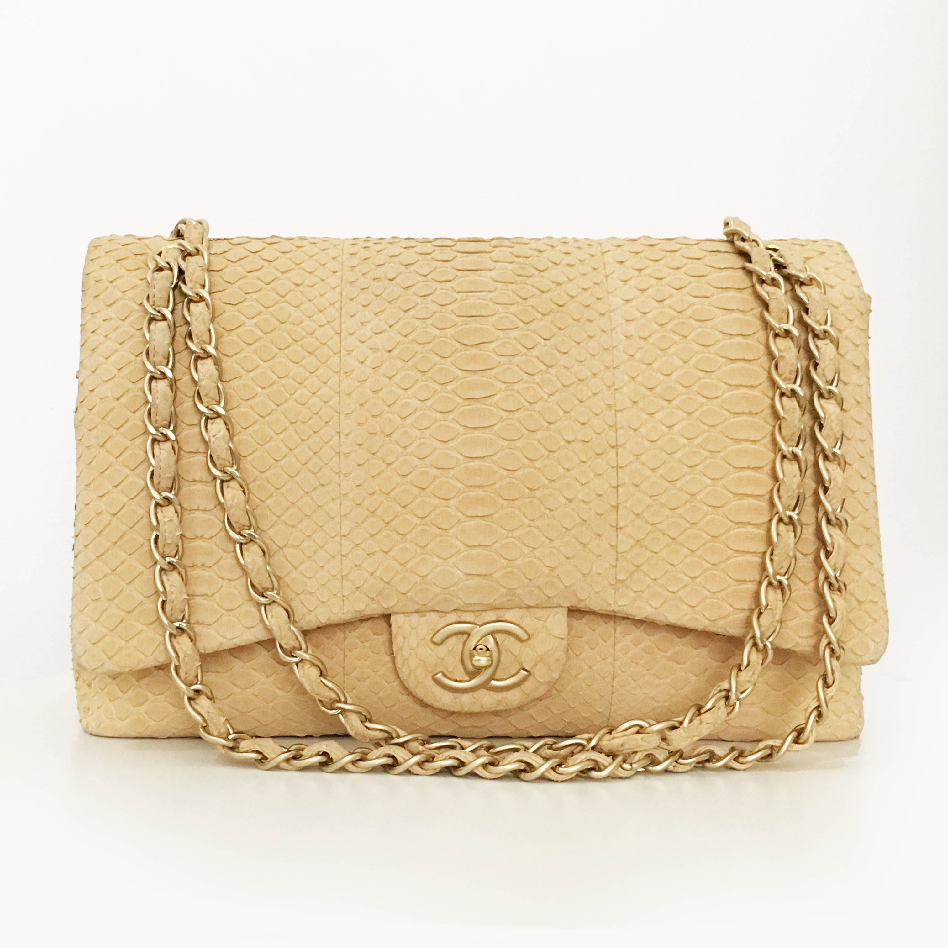 Chanel Double Flap Python Maxi Bag