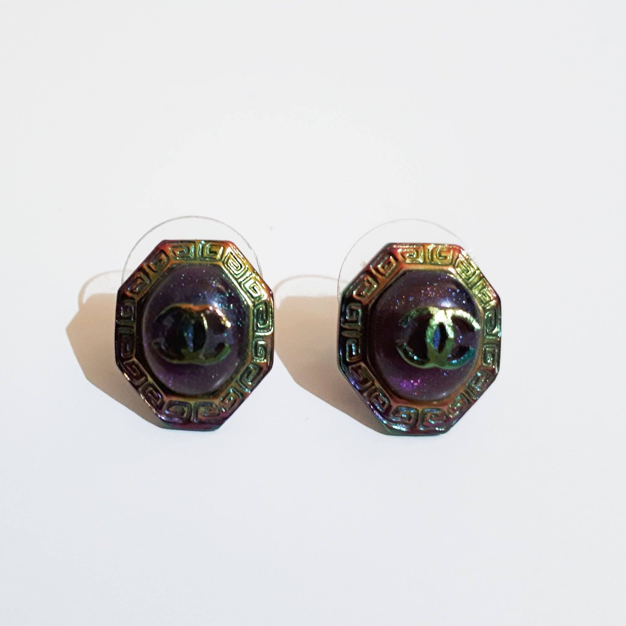 Chanel Multicolor Octagon Shaped Earrings