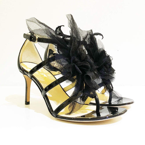 Chanel Strappy Sandal Heels With Camellia Mesh Lace Flower