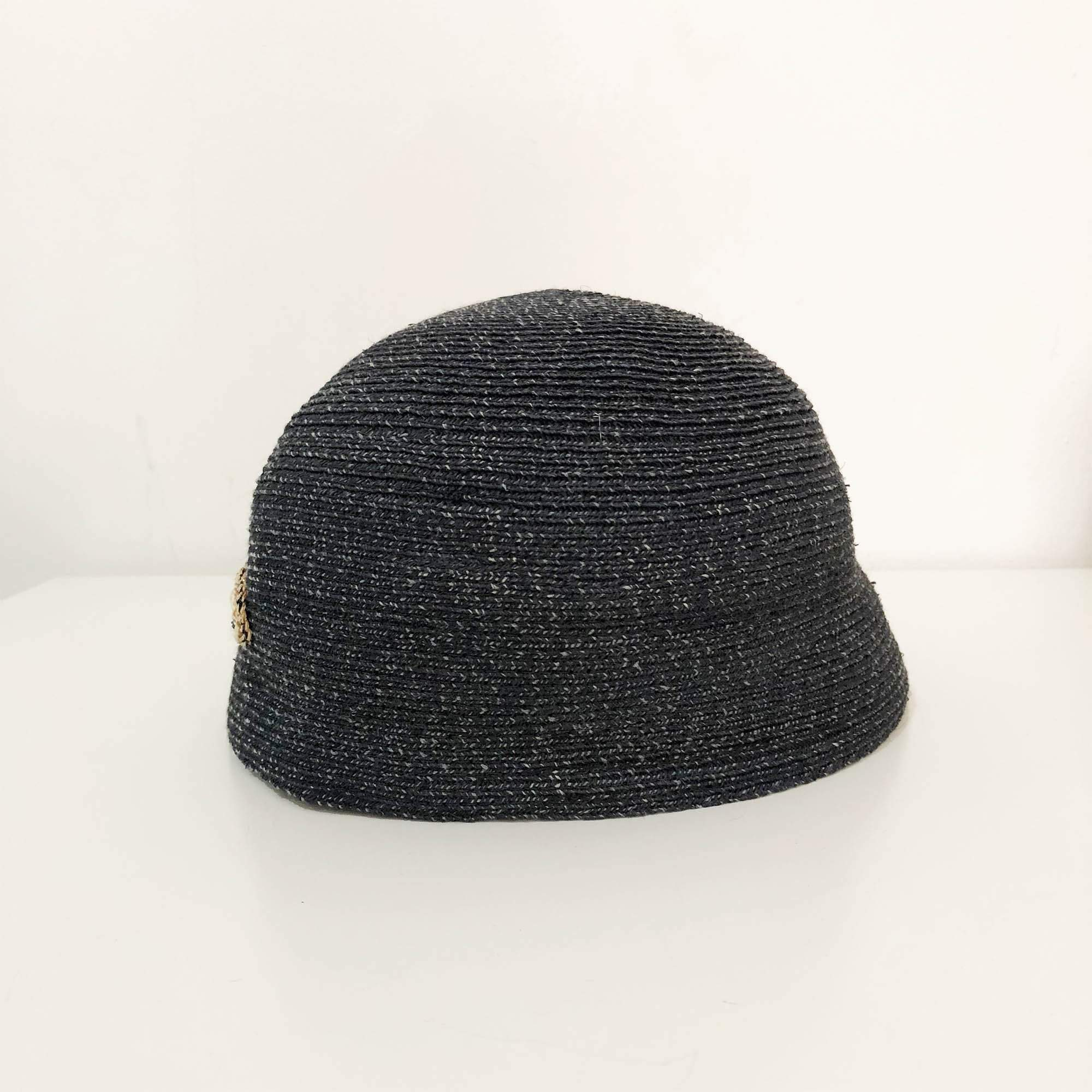 Chanel Woven Straw Dark Grey Hat