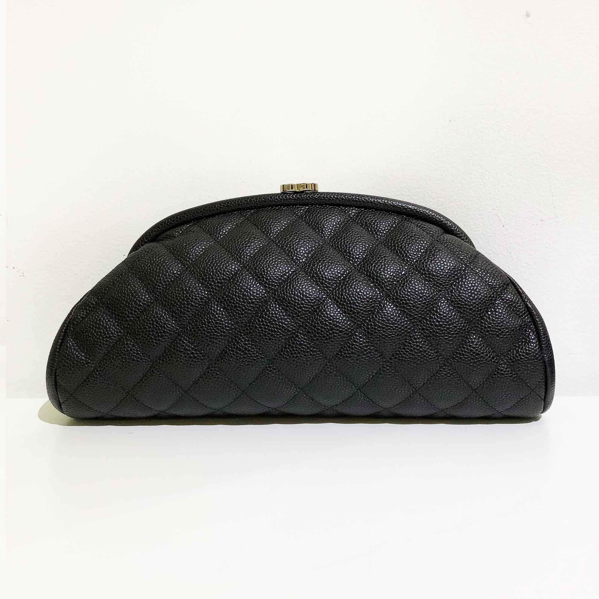 Chanel Black Caviar Leather Timeless Clutch Bag