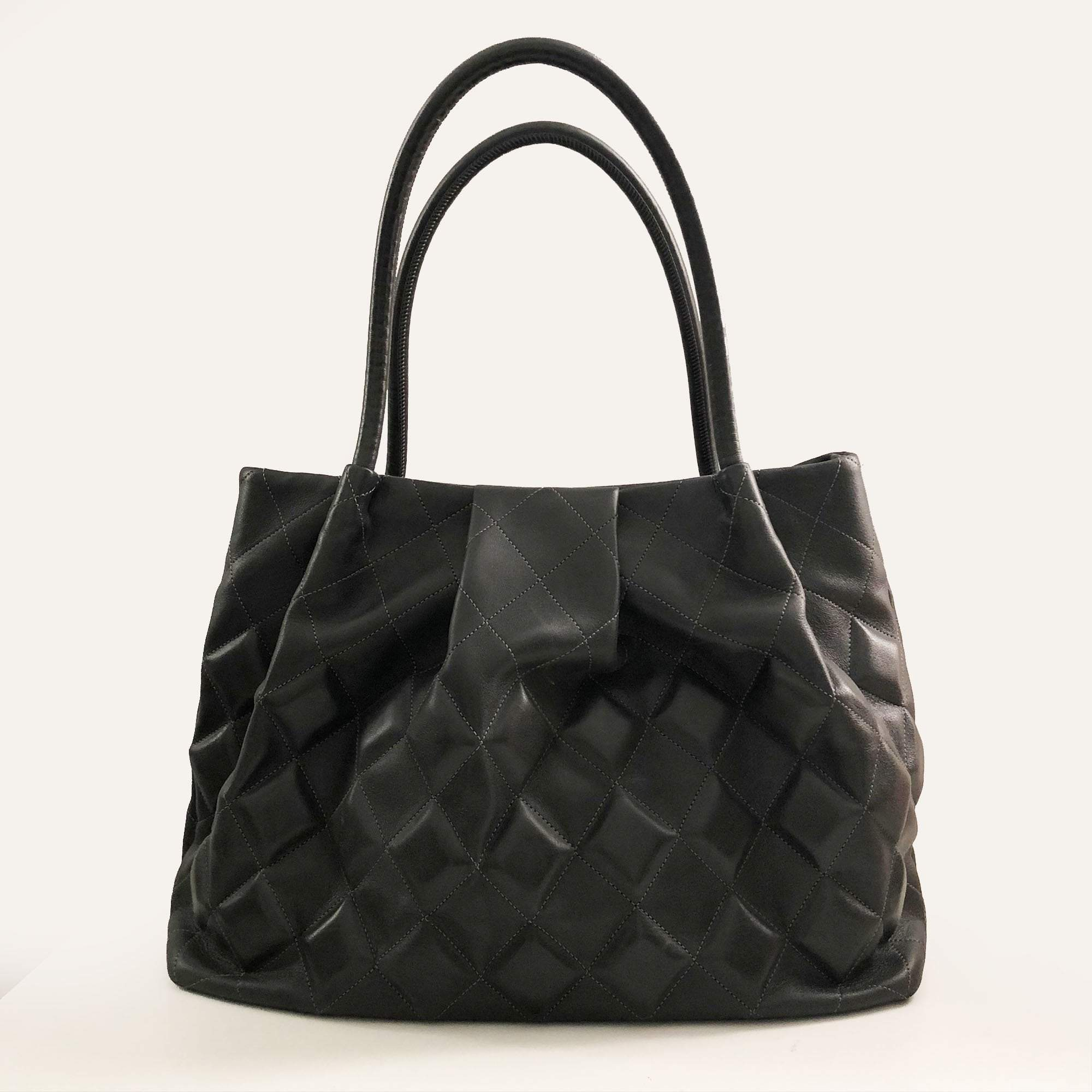 Chanel Grey Oversized Quilted Tote Bag