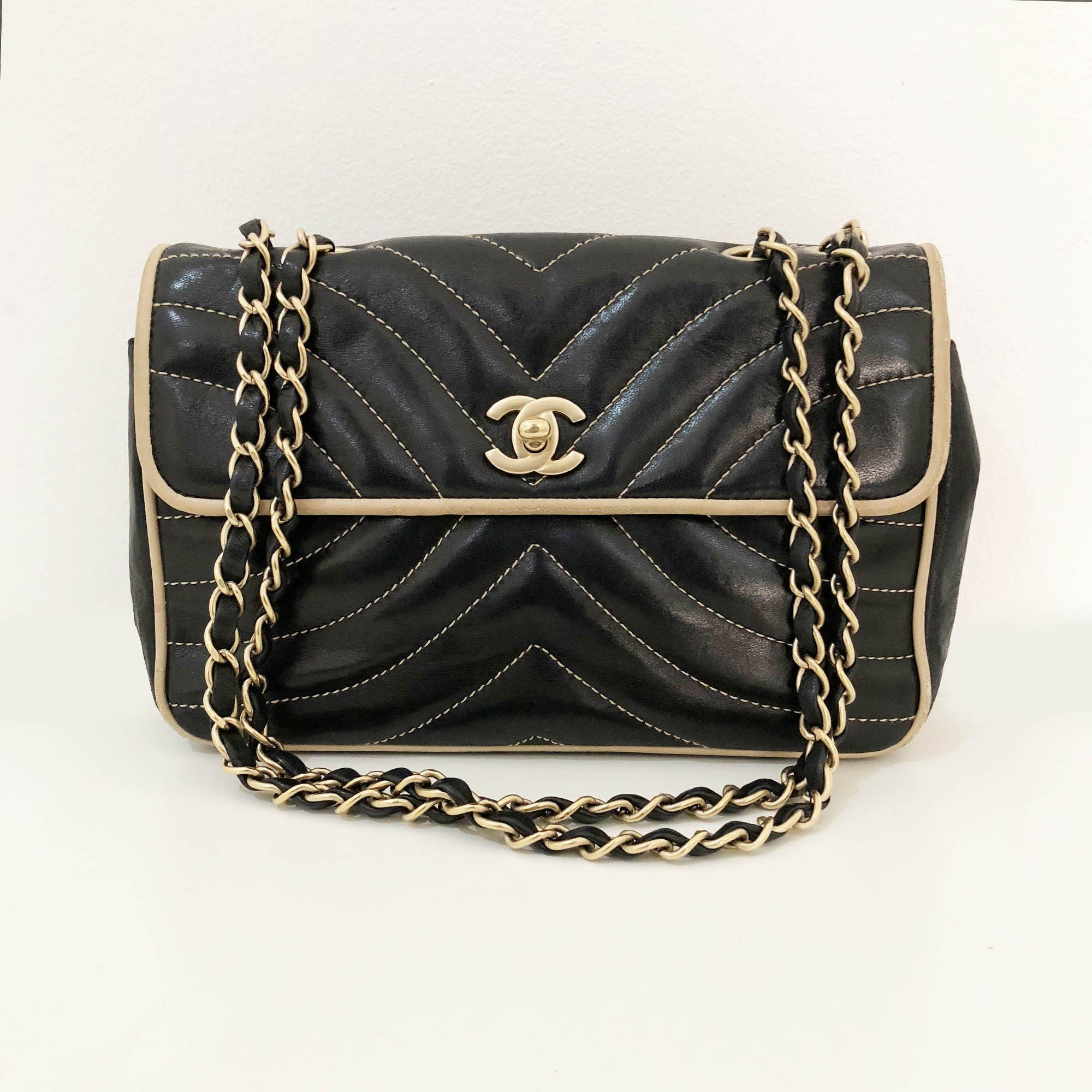 Chanel Stitched Lambskin Black Flap Bag