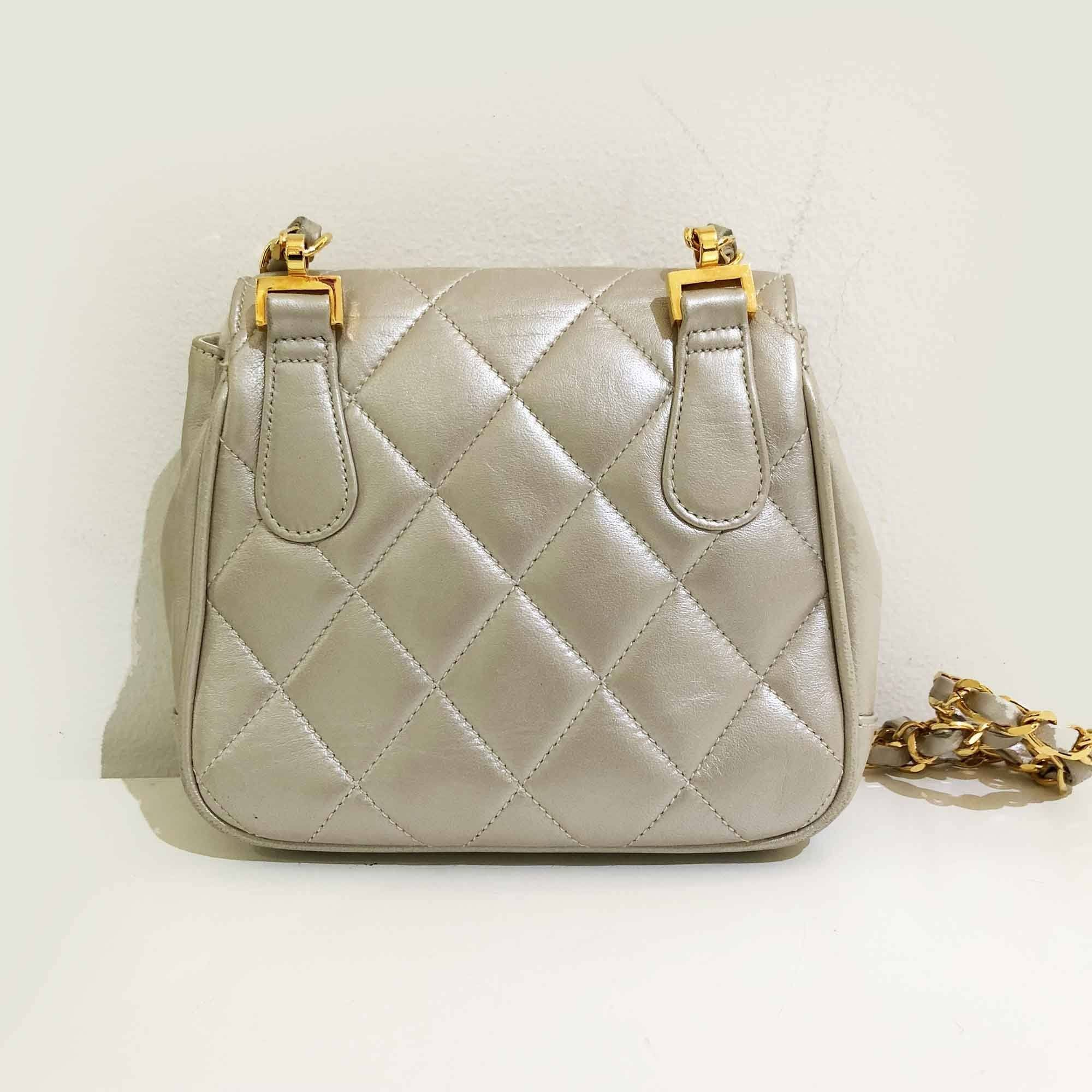 Chanel Vintage Quilted Pearl Mini Crossbody Bag