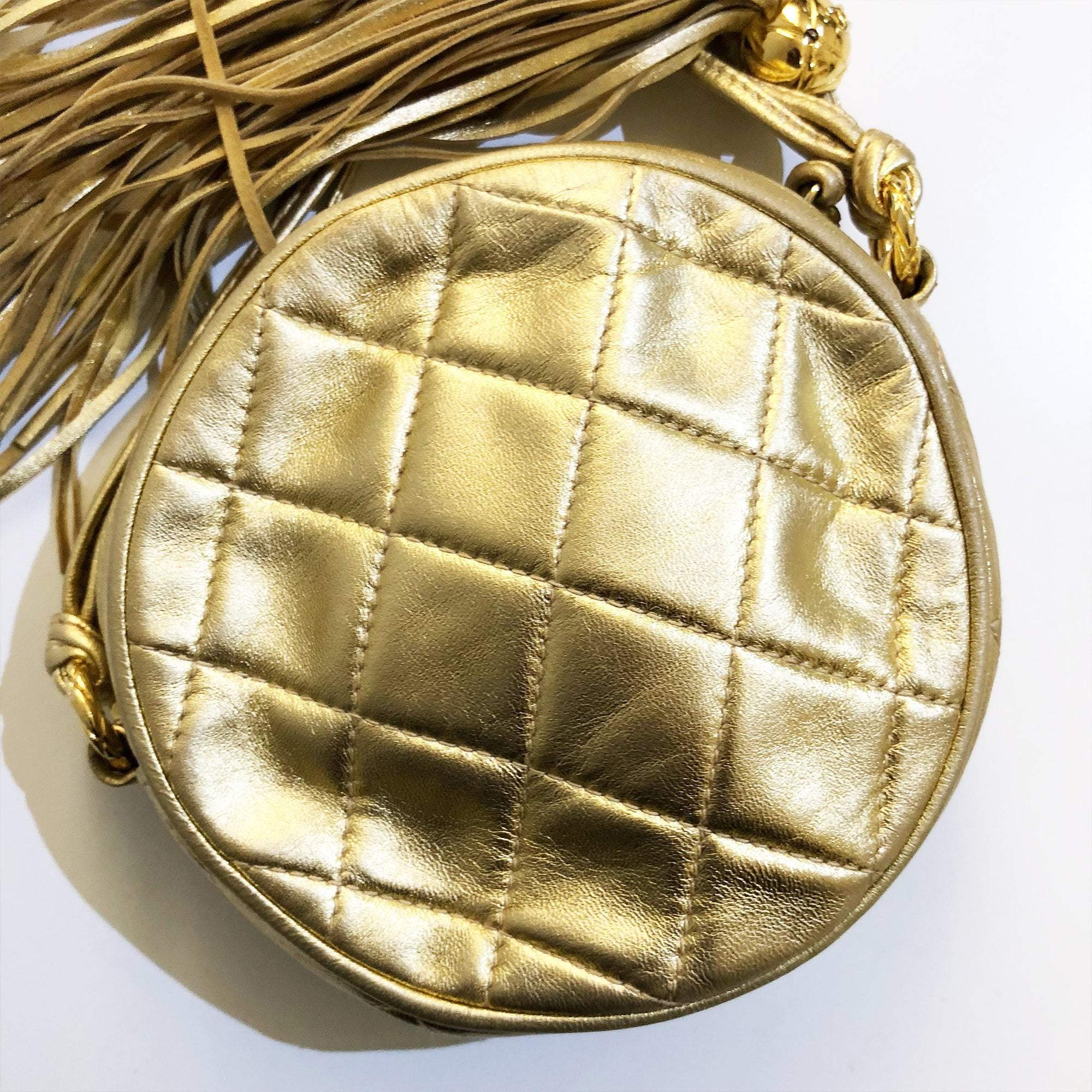 Chanel Gold Round Quilted Cross-body Bag