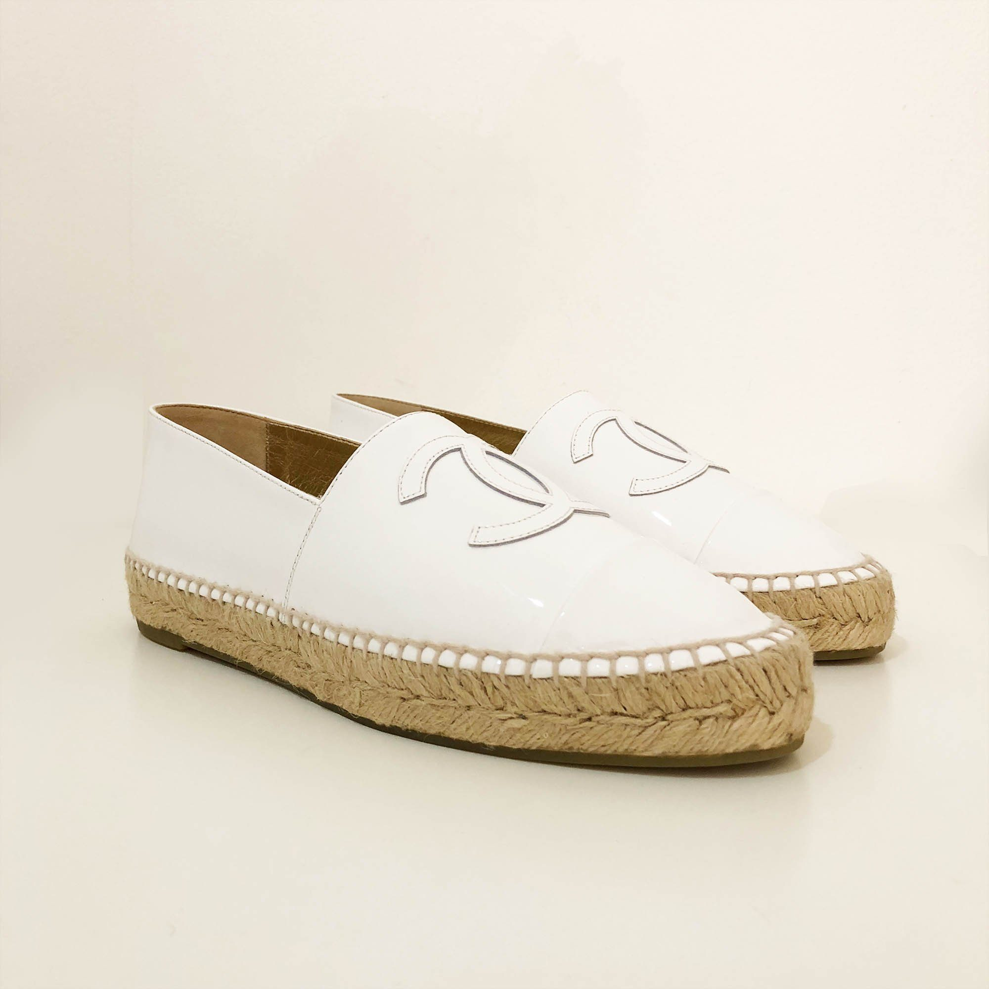 Chanel White Patent Leather Espadrille Flats