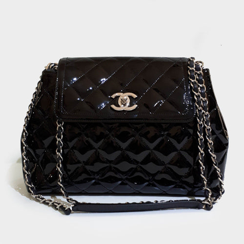 Chanel Black Coco Shine Accordion Large Bag