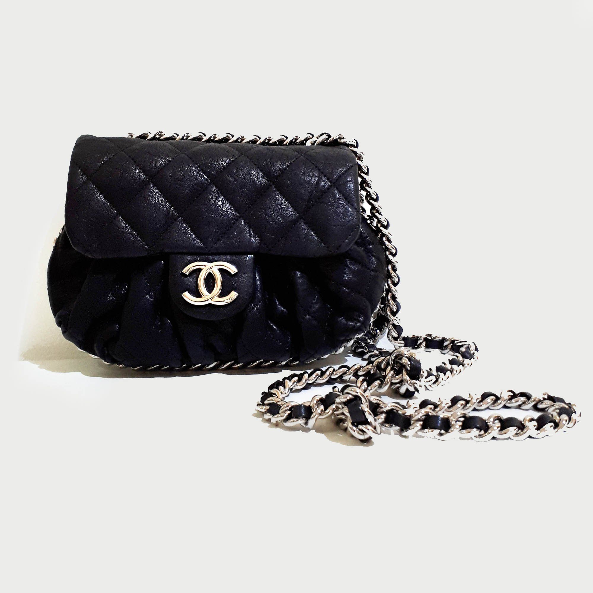 Chanel Aged Lambskin Chain Around Mini Crossbody Bag