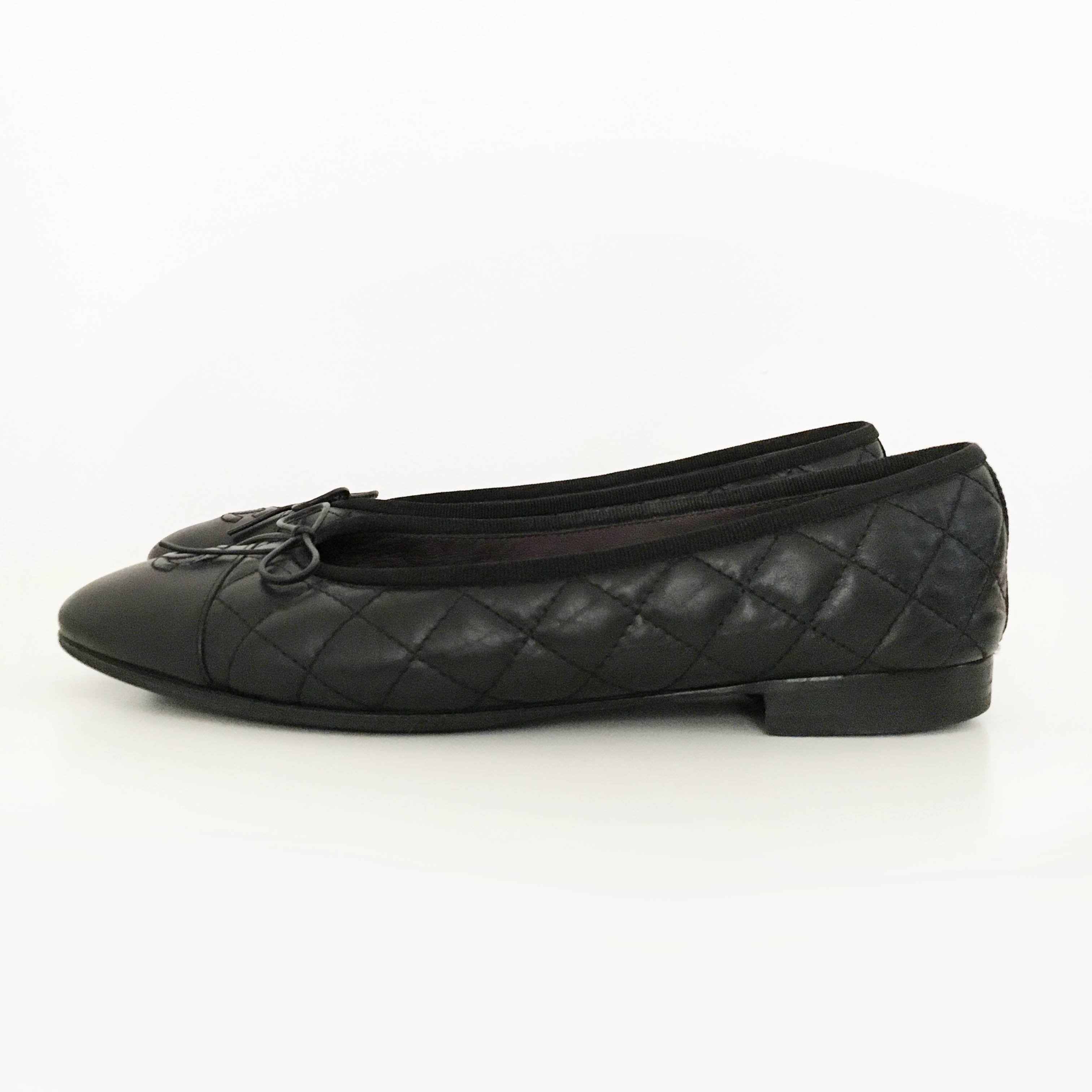 Chanel Ballerina in Black Quilted Leather