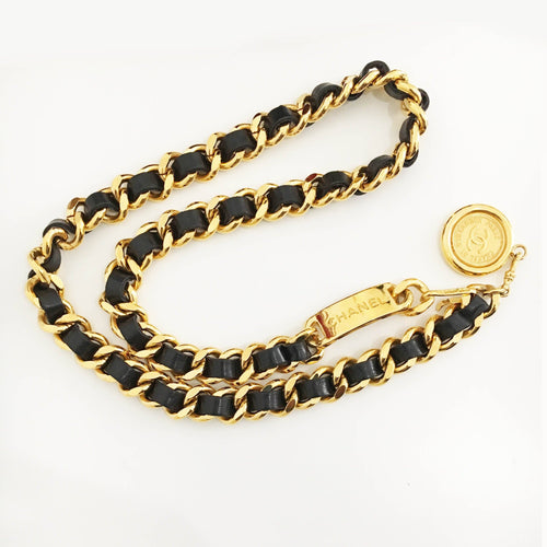 Chanel Gold Tone Belt With Interwoven Black Leather