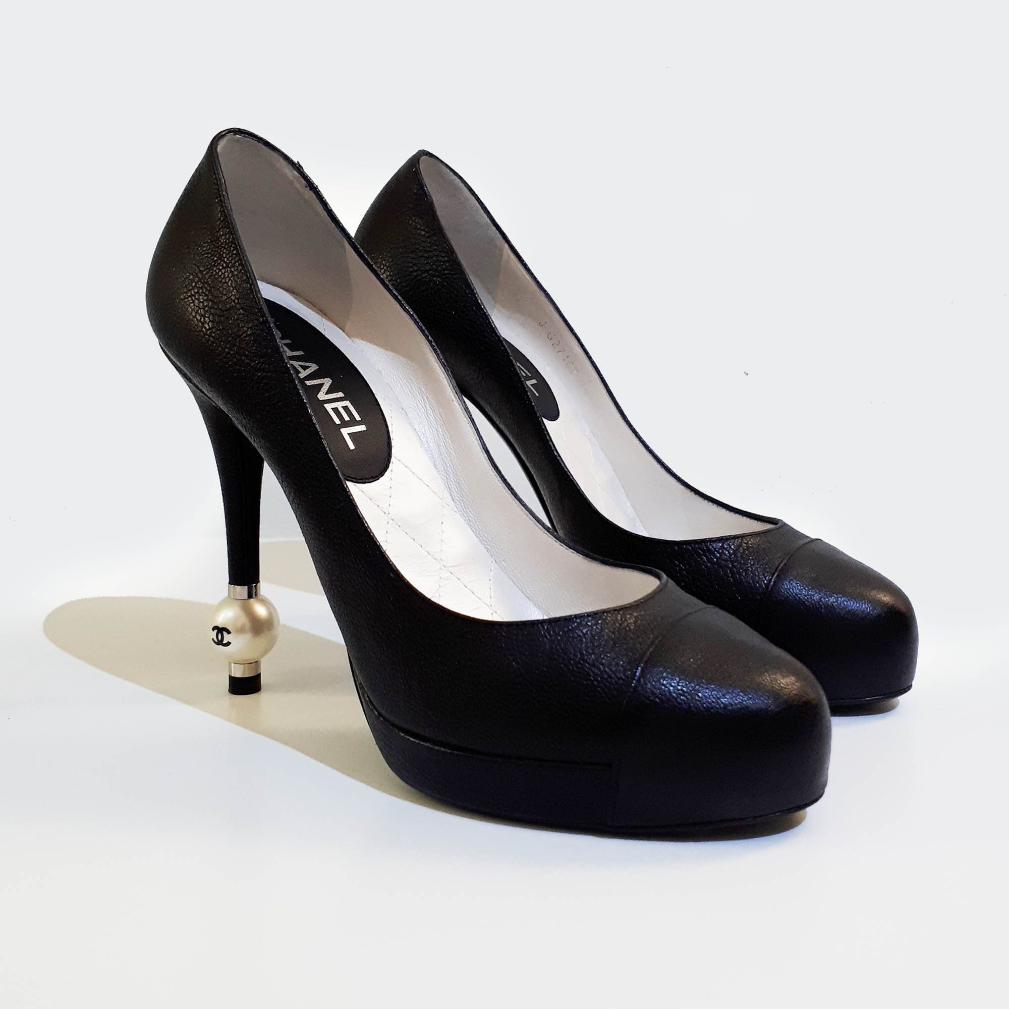 Chanel Round Cap-Toe Leather Pumps
