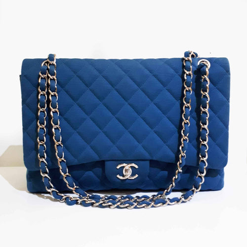 Chanel Turquoise Fabric Classic Maxi Bag
