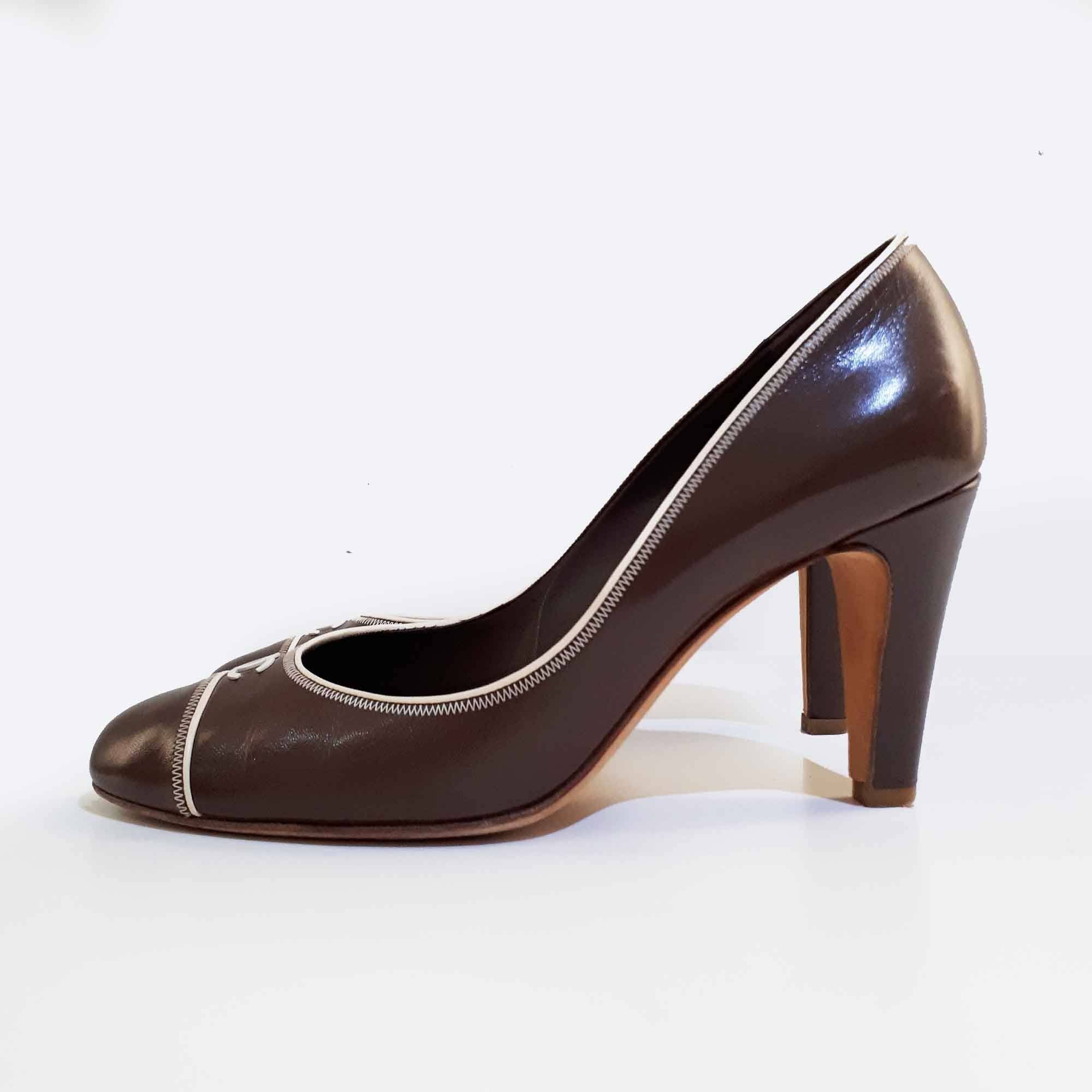 Chanel Brown Leather Pumps