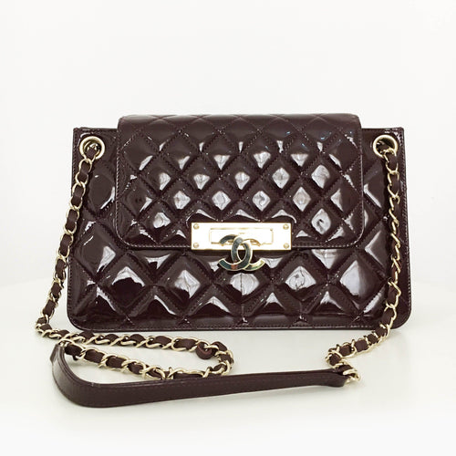 Chanel Patent Quilted Golden Class Accordion Flap Burgundy