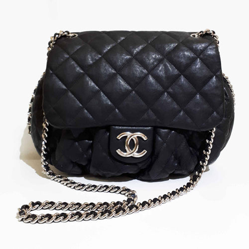 Chanel Aged Lambskin Chain Around Large Crossbody Bag