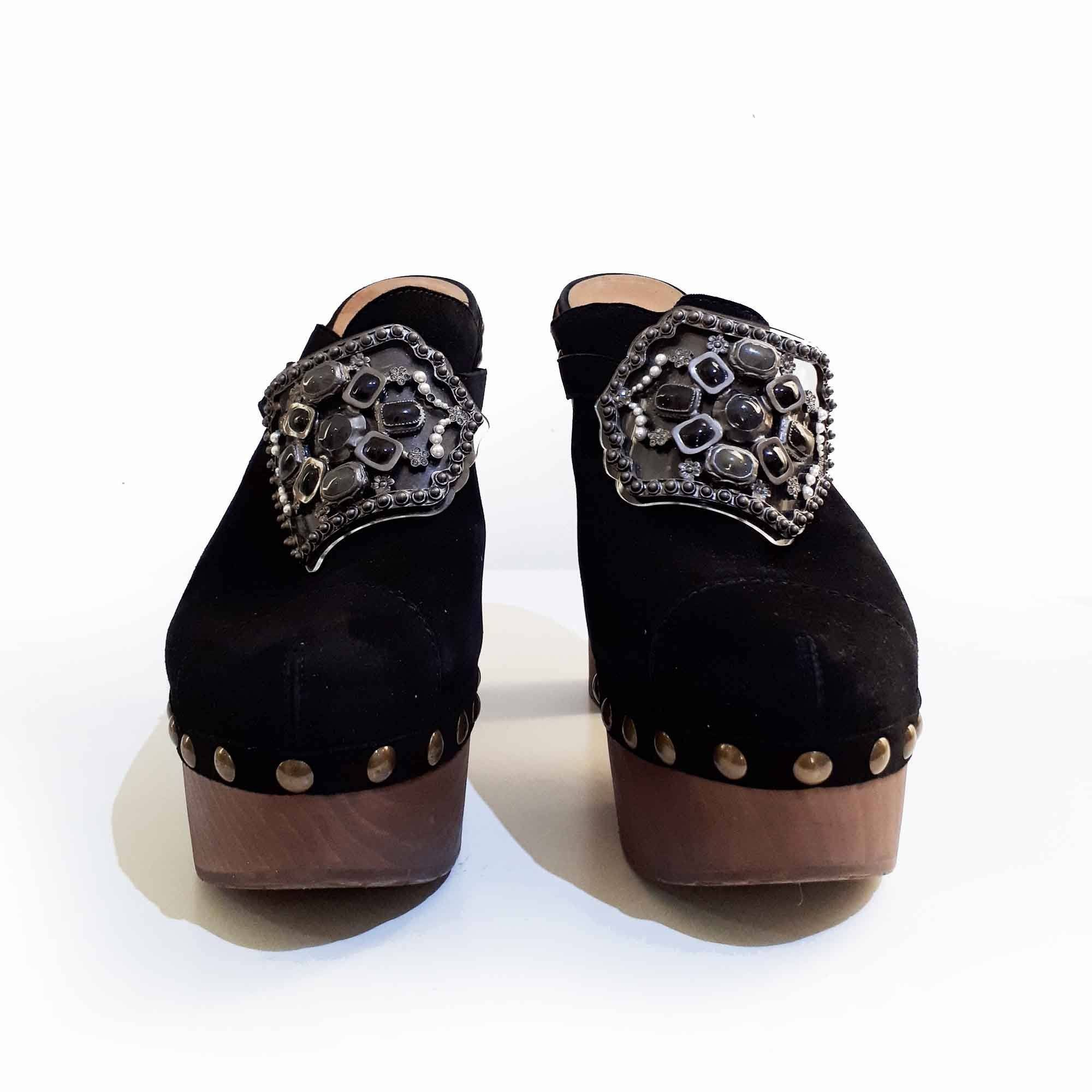 Chanel Embellished Buckle Clogs