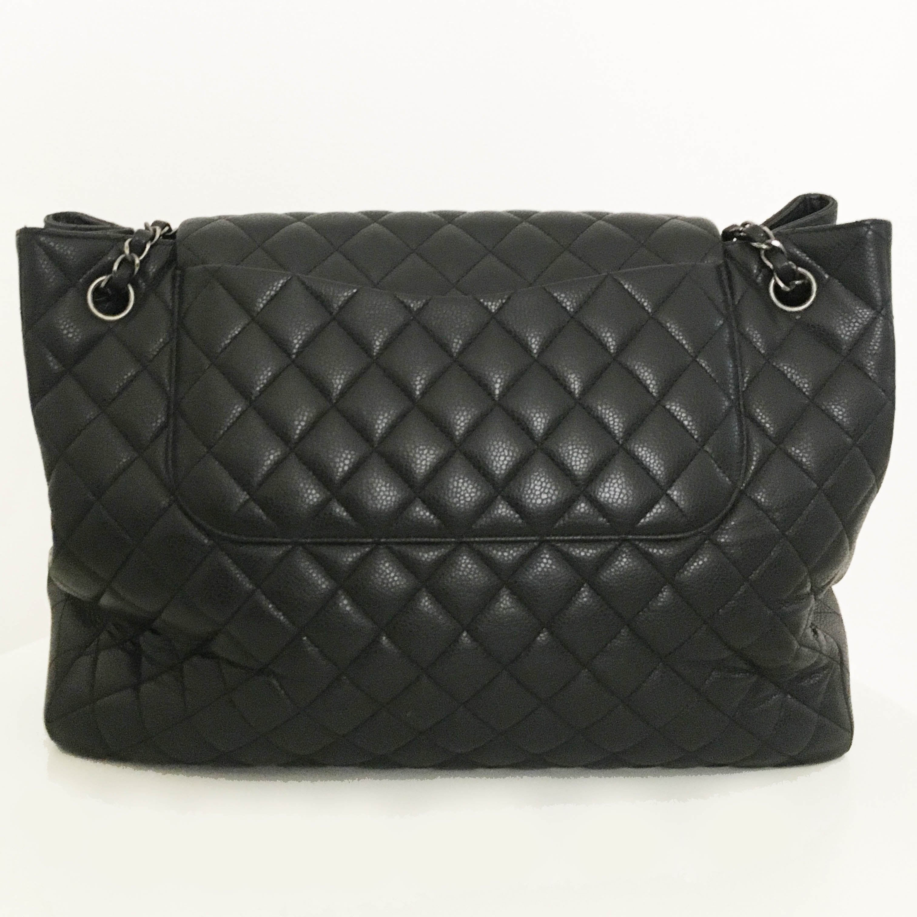 Chanel Large Black Caviar Leather Cruise Shopping Bag