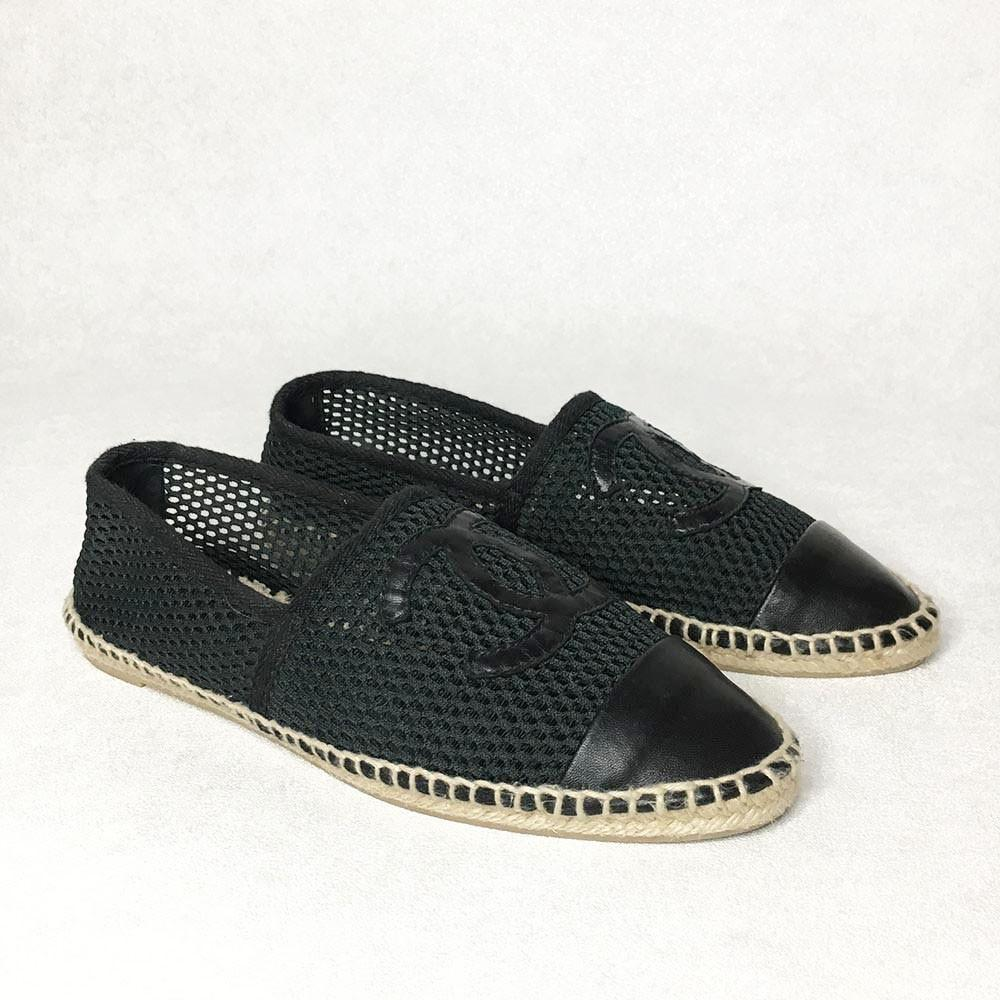 Chanel Black Canvas and Leather CC Espadrille Flats