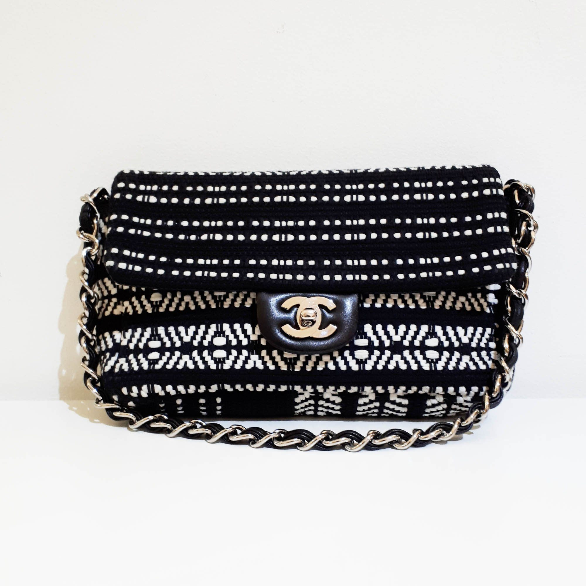 Chanel Fabric Black and White Small Bag