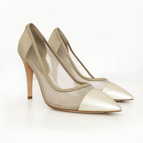 Chanel Beige Pointed Mesh Pumps