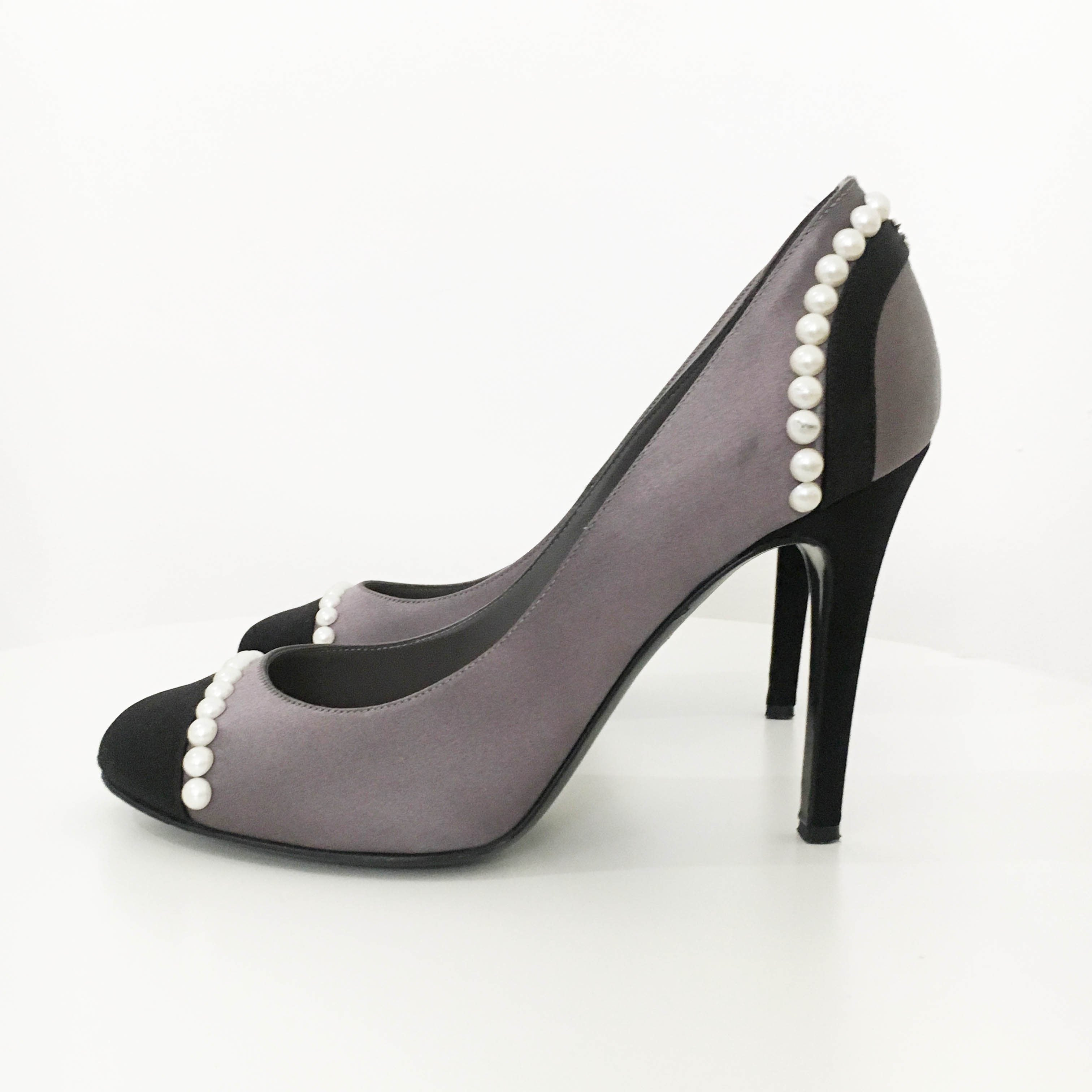 Chanel Grey Satin Pumps With Pearls
