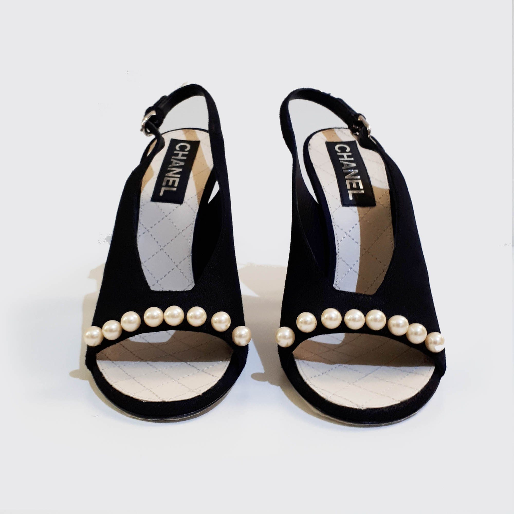 Chanel Suede Sandal Heels With Pearls