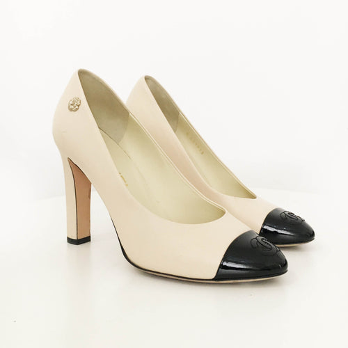 Chanel Beige Black Cap Toe Pumps