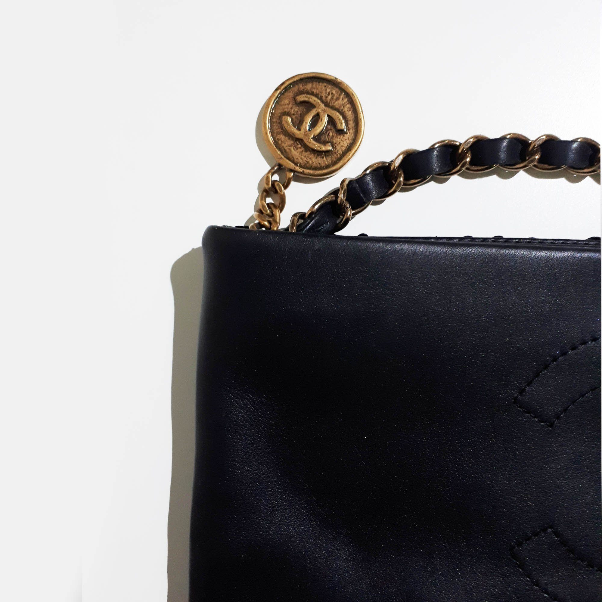 Chanel Black Medallion Python Bi-Fold Clutch