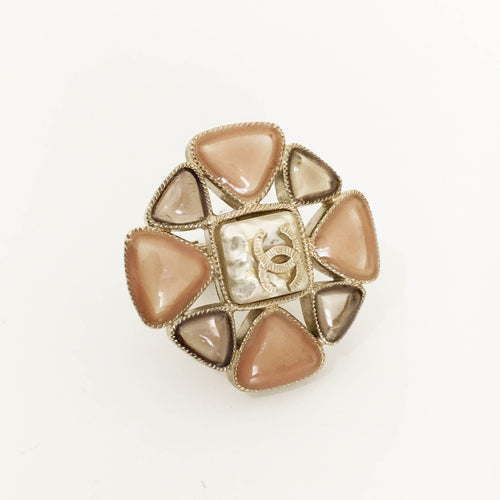 Chanel Silver Ring With Stones
