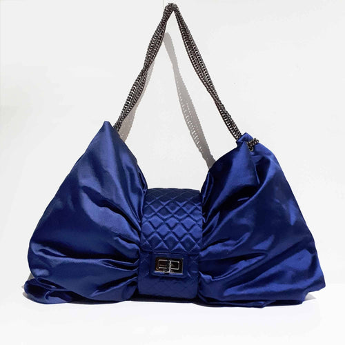 Chanel Satin Large Blue Bow Bag