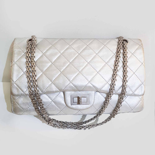 Chanel Metallic Pewter Double Flap 2.55 Reissue Bag