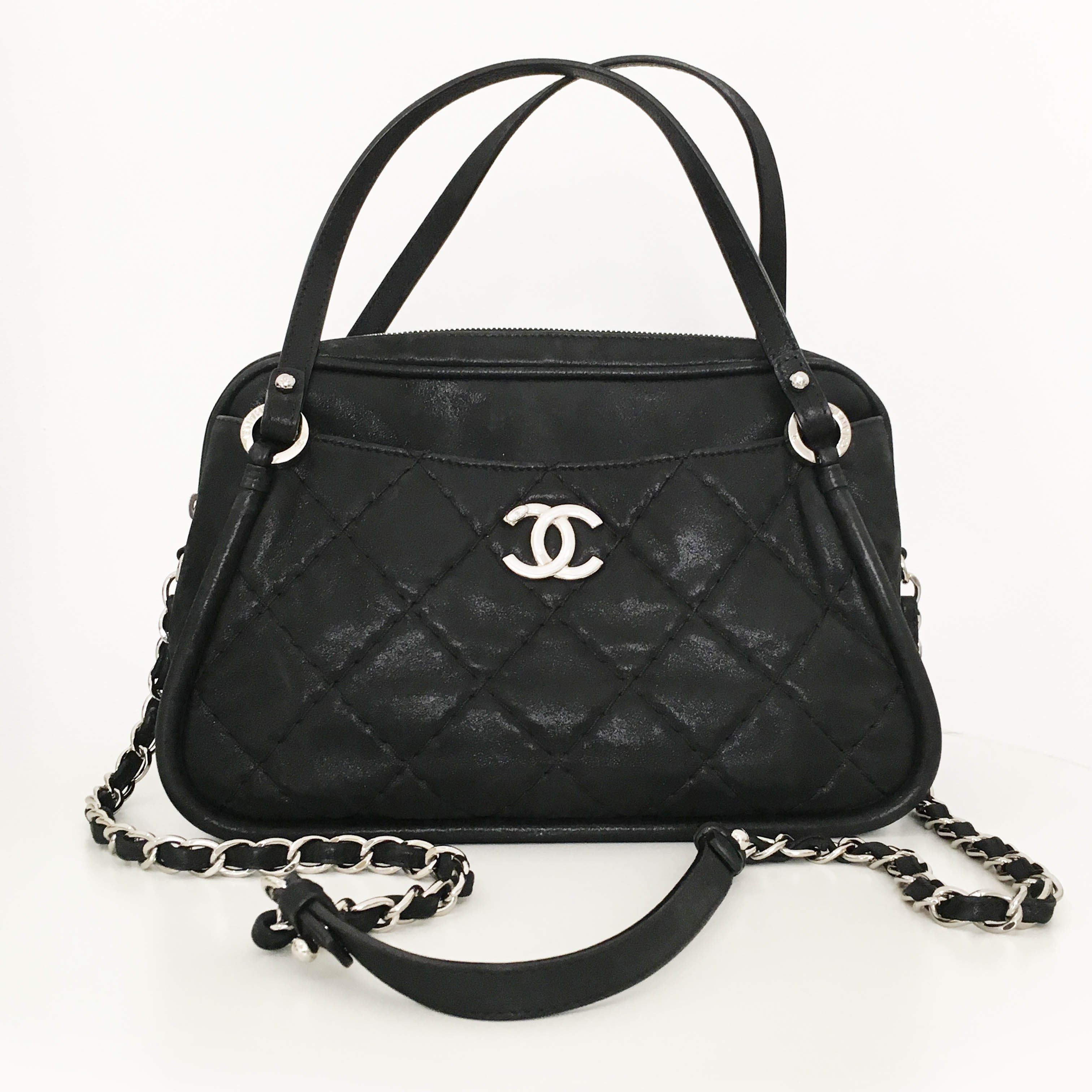 Chanel Black Velvet Leather Bag