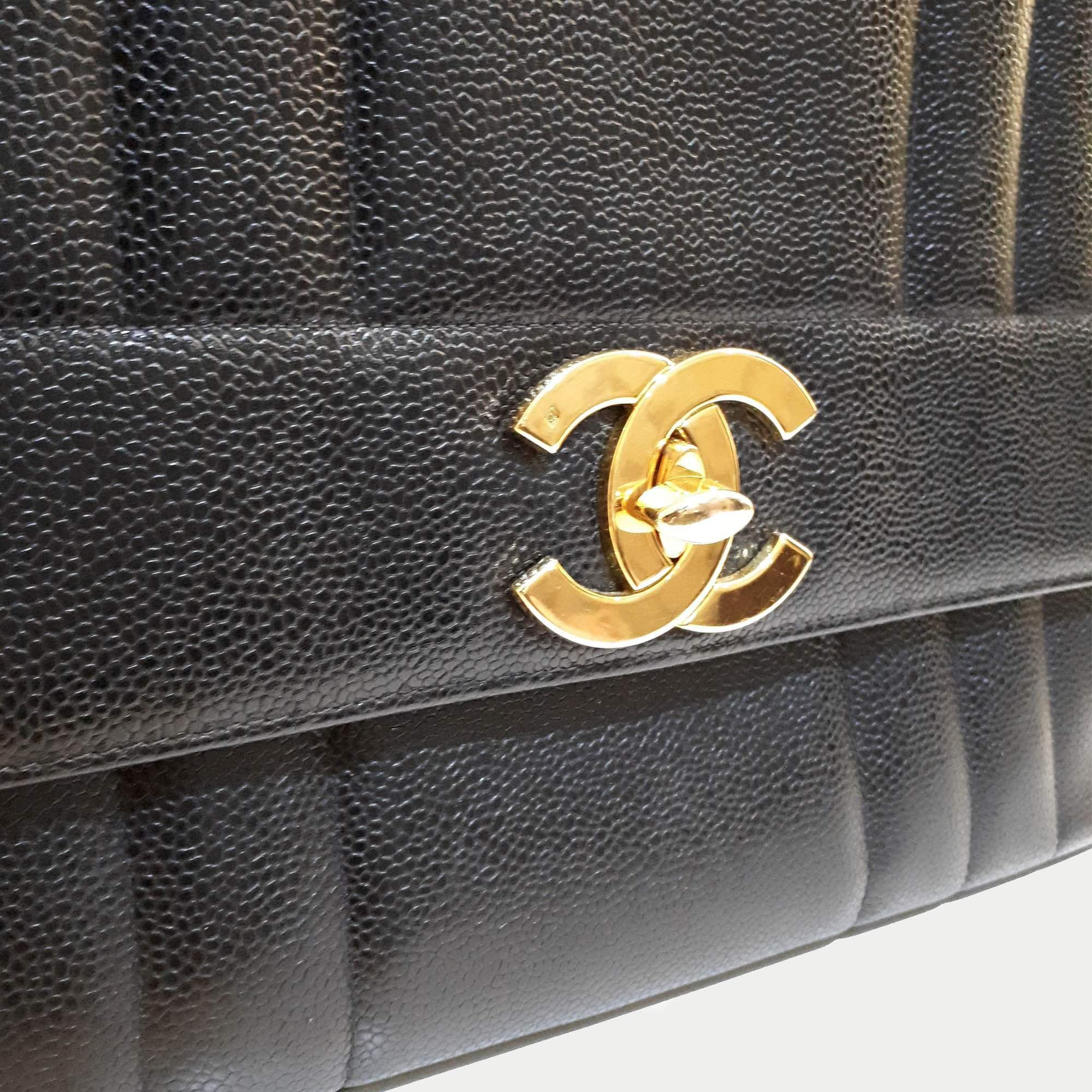 Chanel Caviar Turn-lock Vertical Stitch Top Handle Bag