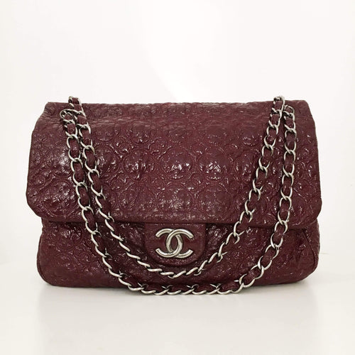 Chanel Burgundy Vinyl Flap Bag