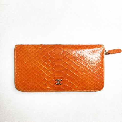 Chanel Orange Python CC Logo Zip Around Wallet