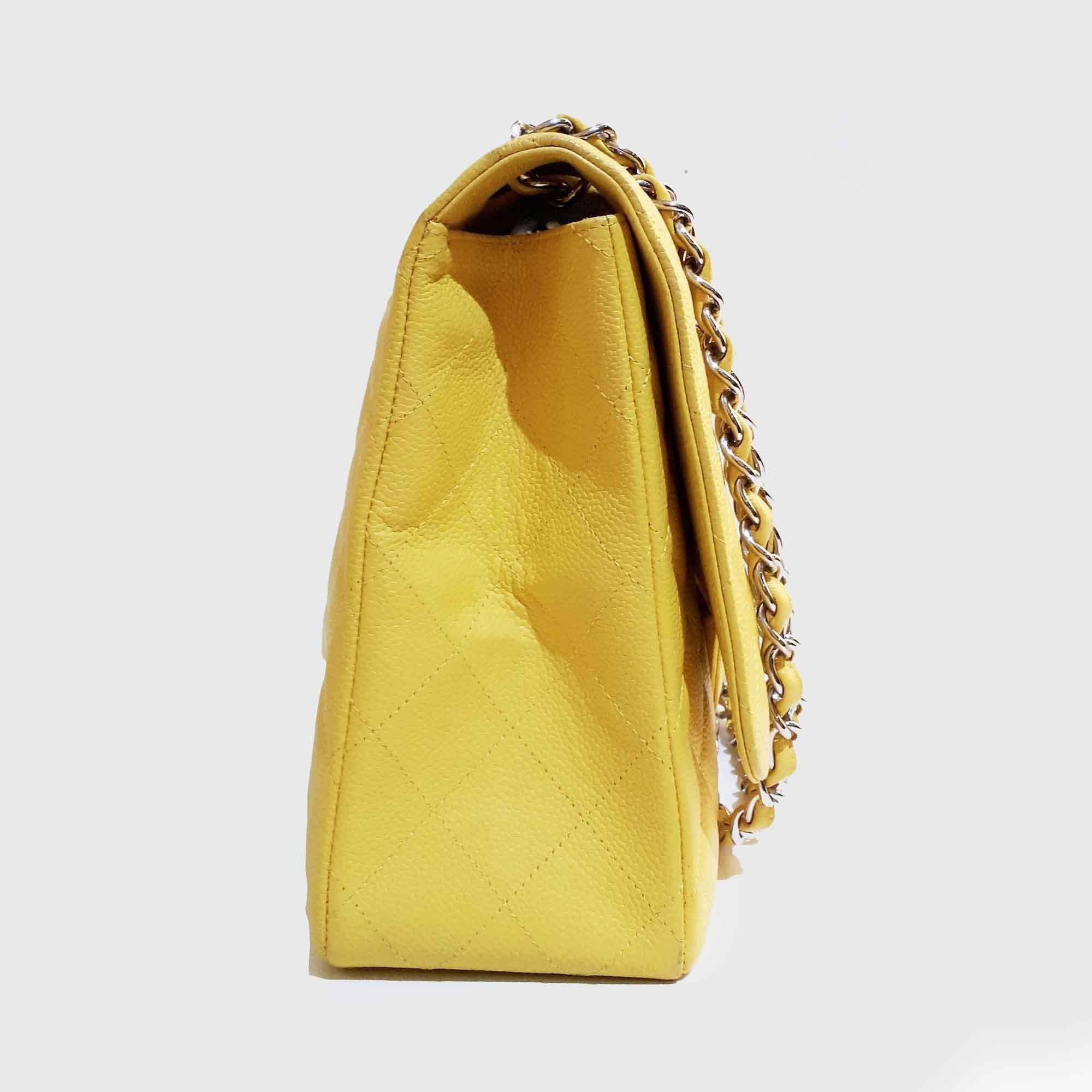 Chanel Yellow Caviar Classic Maxi Bag