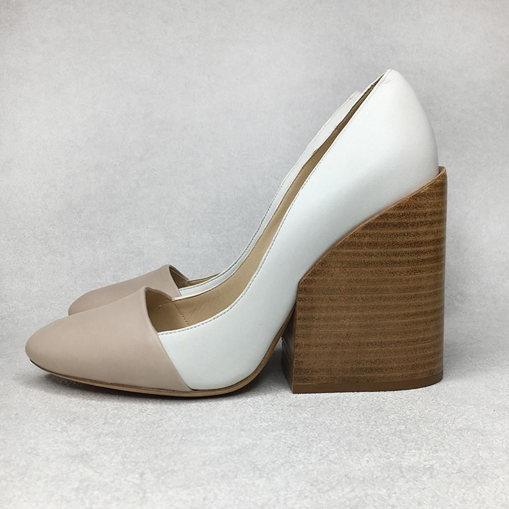 Two Tone Leather Block Heel Pumps